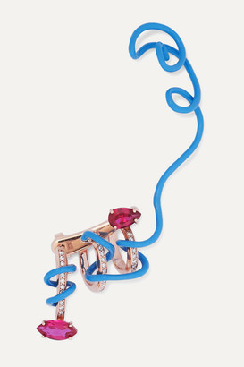 BEA BONGIASCA Crawler Vine 9-karat Rose Gold Corundum And Diamond Ear Cuff - Blue