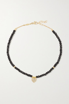 Jacquie Aiche 14-karat Gold, Onyx And Diamond Anklet - one size