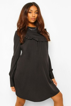 boohoo Maternity Drape Sleeve Ruffle Shift Dress