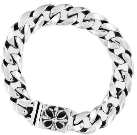Chrome Hearts 925 Sterling Silver Cross Button Chain Bracelet