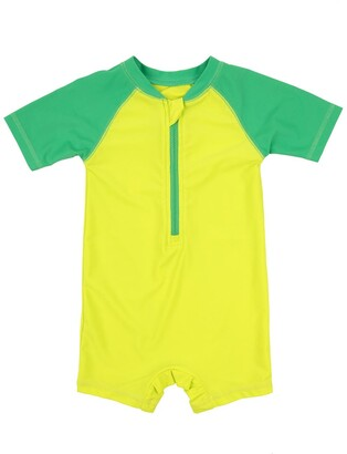 Leveret One-Piece UPF +50 Rash Guard - Green & Lime Green