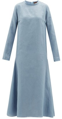 ALBUS LUMEN Tula Long-sleeved Linen Midi Dress - Blue