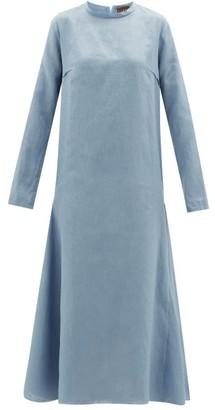 ALBUS LUMEN Tula Long-sleeved Linen Midi Dress - Womens - Blue
