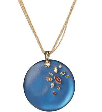 Alexis Bittar Navette Crystal Large Disc Pendant Necklace, Blue