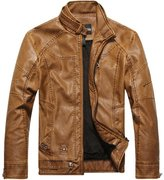Men's Vintage Stand Collar Faux Leather Jacket, Ouroboros Fashion Stylish L