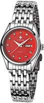 WWOOR Women's Silver Bracelet Stainless Steel Wrist Watch Ladies Date And Week Watches Red