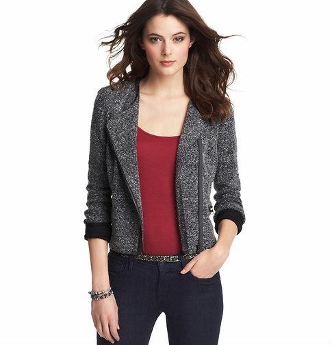 LOFT Tall Melange Knit Moto Jacket