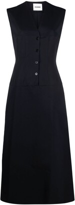 Jil Sander Sleeveless Button-Detailing Midi Dress