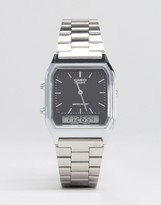 Casio Analogue & Digital Square Watch In Silver Aq230a-1ds