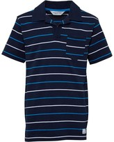 Kangaroo Poo Boys Notch Neck Yarn Dyed Striped Polo Navy/White/Turquoise
