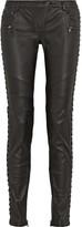 Pierre Balmain Paneled leather skinny pants