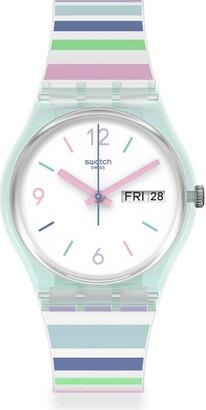 Swatch Gent Standard Swiss Quartz Silicone Strap White 16 Casual Watch (Model: GL702)