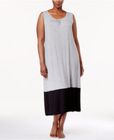 Alfani Plus Size Colorblocked Knit Nightgown, Created for Macy's