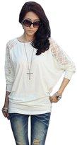 Orangesky 2016 Women Long Sleeve Casual Dolman Lace Loose T-Shirt Tops (XXL, )