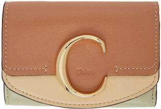 Chloé Tan Small C Tri-Fold Wallet