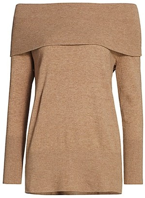 Akris Punto Wool & Cashmere Off-The-Shoulder Folded Tunic Sweater