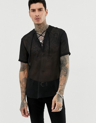 Asos Design DESIGN regular fit overhead sheer shirt in black with lace up detail