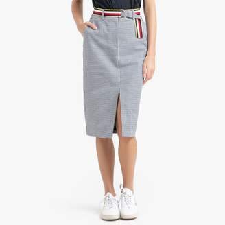 Tommy Hilfiger Checked Mid-Length Skirt in Cotton/Linen Mix