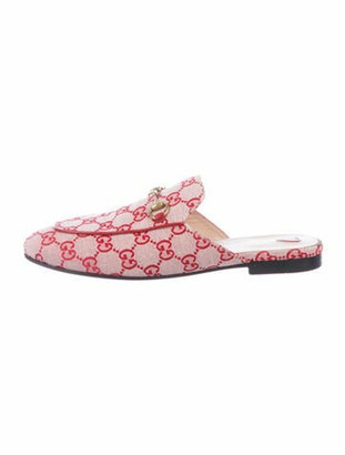 Gucci Princetown GG Canvas Mules Red
