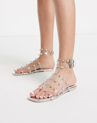 Public Desire Publicity clear flat sandal with silver studs