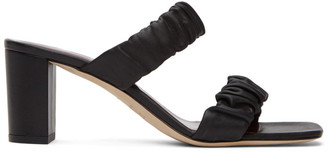 STAUD Black Nappa Frankie Ruched Heeled Sandals