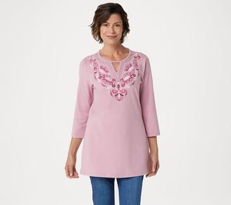 Denim & Co. Regular Round Neck 3/4-Sleeve Tunic with Neck Detailing