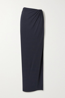 Brandon Maxwell Wrap-effect Gathered Jersey Maxi Skirt - Midnight blue