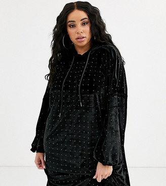 Asos DESIGN Curve velvet hoodie dress with hotfix embellishment