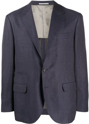 Brunello Cucinelli Textured Gingham Patterned Suit Jacket