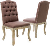 JCPenney Wester Set of 2 Tufted Upholstered Dining Chairs w/ Nailhead Trim