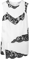 DKNY Layered Lace-trimmed Stretch-silk Blouse - White