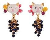 Les Nereides Little Cats Faces And Bunch Of Beads Earrings.