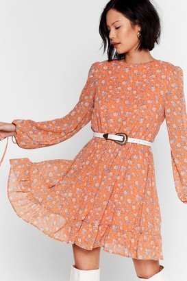 Nasty Gal Womens You Swing Me Right Round Floral Mini Dress - Orange - 10