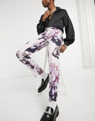 Twisted Tailor slim linen suit pants in dusty pink with floral print