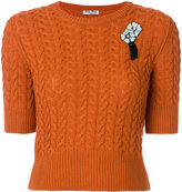 Miu Miu short-sleeve brooch jumper
