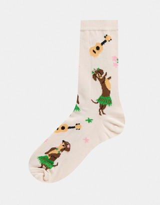ASOS DESIGN ankle socks with dancing sausage dogs