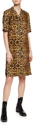 Dries Van Noten Leopard Print Short-Sleeve Shirtdress