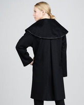 Sofia Cashmere Funnel-Neck Leather-Trim Coat