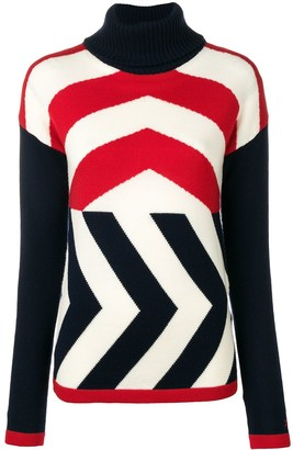 Perfect Moment Chevron-Knit Roll-Neck Jumper
