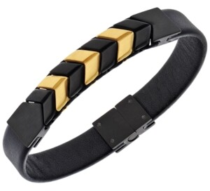 Sutton by Rhona Sutton Sutton Stainless Steel And Leather Two-Tone Chevron Bracelet
