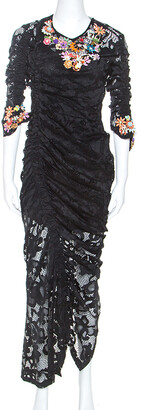 Preen Black Stretch Lace Embellished Detail Ruched Georgia Dress L
