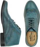 Pakerson Petrol Blue Handmade Italian Leather Wingtip Ankle Boots