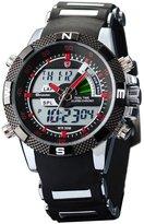 Shark Men's Sport Dual Time LCD Display Alarm Chronograph Analog Digital Quartz Wrist Watch Red Dial SH043