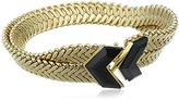 Wouters & Hendrix Women's Yellow Gold Plated 925 Sterling Silver and Copper V-Shaped Onyx Stones Bracelet of 17 cm