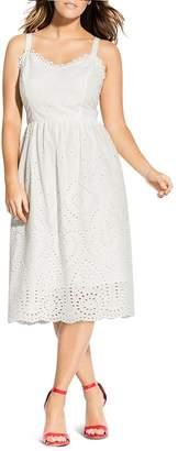 City Chic Plus So Crochet Eyelet Dress