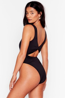 Nasty Gal Womens Knot Going Home High-Leg Swimsuit - Black