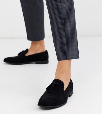 Asos Design DESIGN Wide Fit tassel loafers in black faux suede