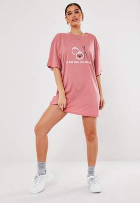 Missguided Blush Oversized You Dim Sum Graphic T Shirt Dress