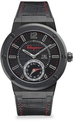 Salvatore Ferragamo F-80 Motion IP Stainless Steel & Leather-Strap Watch
