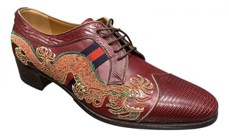 Gucci Burgundy Exotic leathers Lace ups